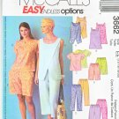 McCall's Sewing Pattern 3662 Misses Size 6-12 Easy Summer Pullover Tops Shorts Cropped Pants
