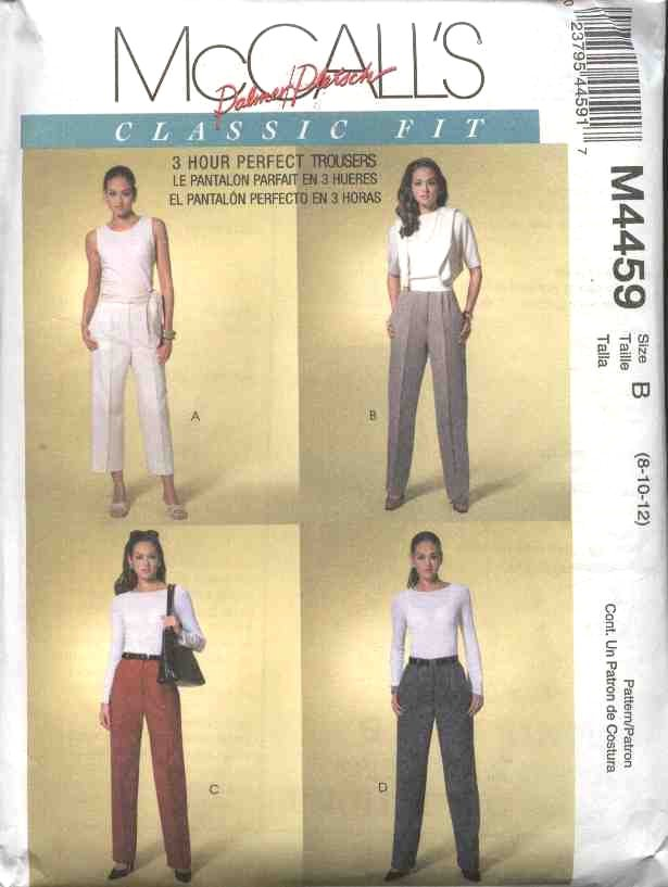 McCall's Sewing Pattern 4459 Misses Size 8-12 Palmer/Pletsch Classic Fit Pants Trousers Slacks