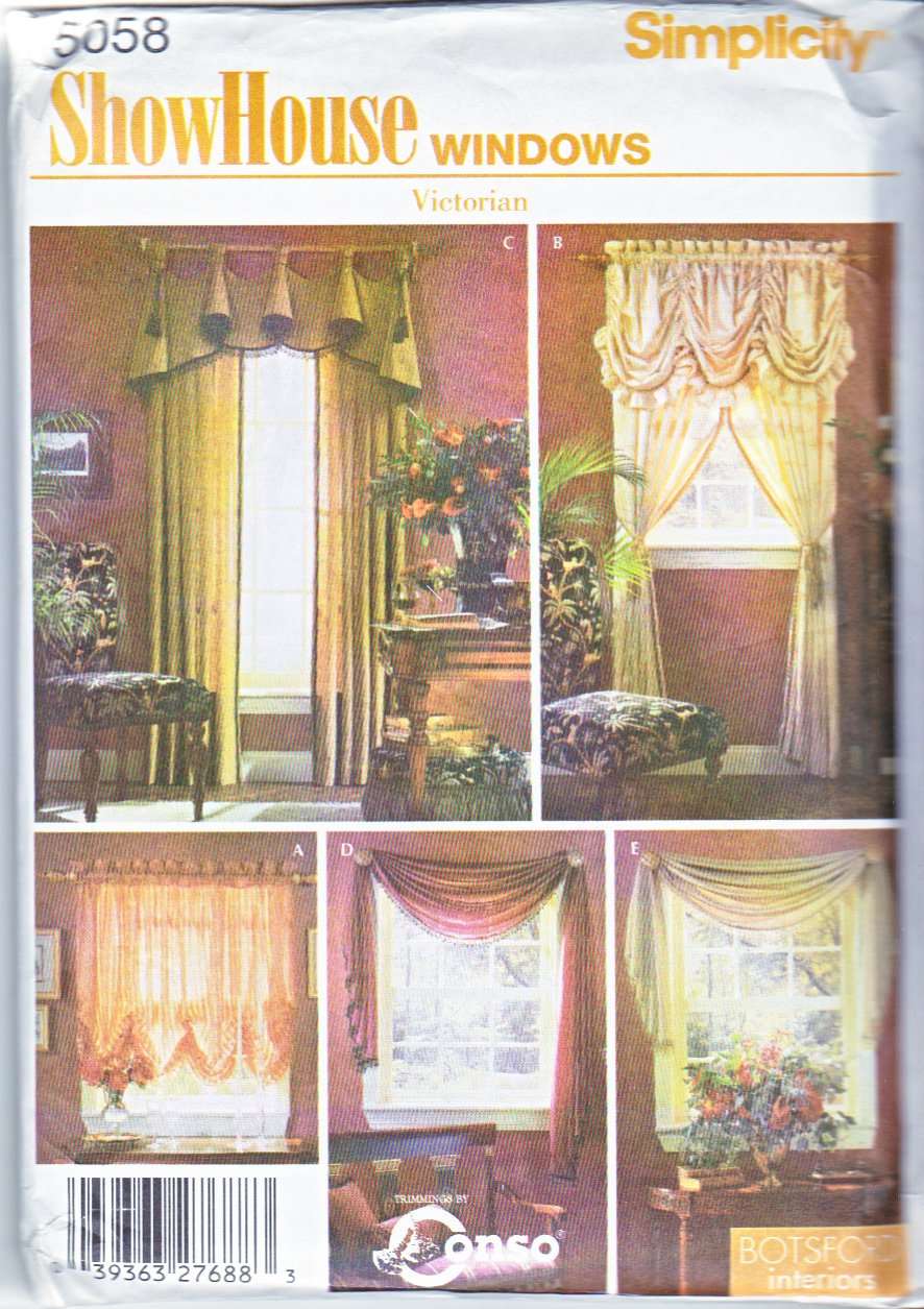 Simplicity Sewing Pattern 5058 Window Treatments Shades Drapery Panels Swag Curtains Valance