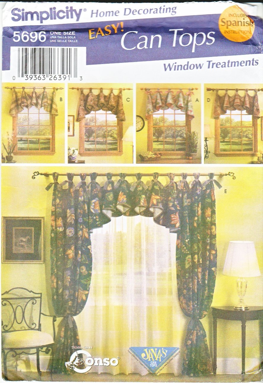 Simplicity Sewing Pattern 5696 Window Treatments Curtain Panels Tabbed Valances Home Decoration
