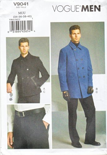 """Vogue Sewing Pattern 9041 V9041 Men's Chest Size 34-40"""" Lined Double Breasted Jacket Pants Trousers"""