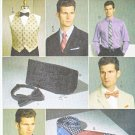 "Vogue Sewing Pattern 9073 Men's Chest Size 34-52"" Lined Vest Cummerbund Necktie Bowtie"