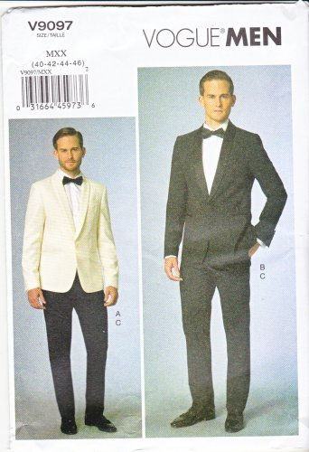 "Vogue Sewing Pattern 9097 V9097 Men's Chest Size 40-46"" Tuxedo Formal Lined Jacket Pants"