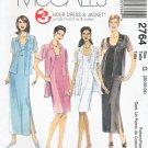McCall's Sewing Pattern 2764 Misses Size 20-24 Sleeveless Short Long Straight Dress Shirt Jacket