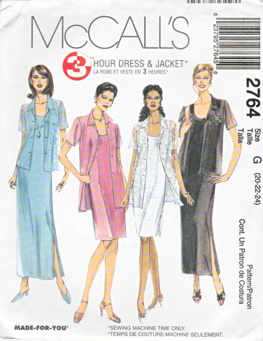 McCall's Sewing Pattern 2764 Misses Size 20-24 Sleeveless Short Long Straight Dress Shirt Jacket