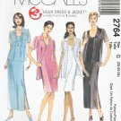 McCall's Sewing Pattern 2764 Misses Size 14-18 Sleeveless Short Long Straight Dress Shirt Jacket