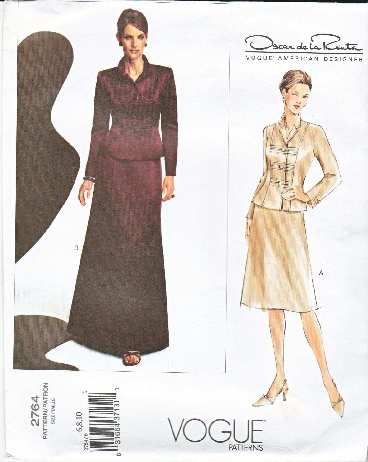 Vogue Sewing Pattern 2764 Misses size 12-14-16 Oscar de la Renta Jacket Skirt