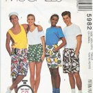 McCall's Sewing Pattern 5982 8934 Misses Mens XSmall Hip Size 32½-33½ Unisex Boxer Shorts