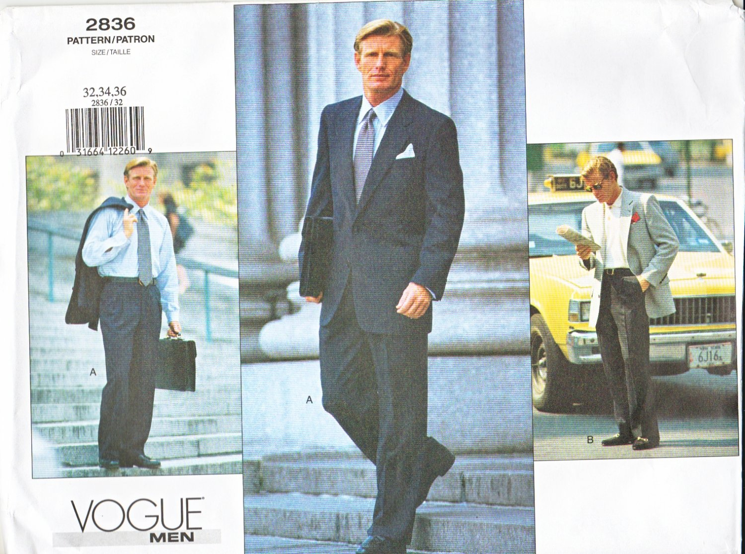 Vogue Sewing Pattern 2836 Mens Chest Size 38-40-42 Jacket Pants Trousers Suit Sportscoat
