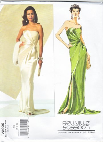 Vogue Sewing Pattern 2929 V2929 Misses Size 4-8 Bellville Sassoon Evening Gown Formal Dress Train