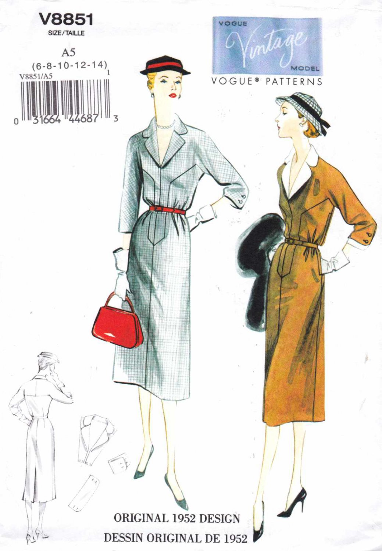 Vogue Sewing Pattern 8851 V8851 Misses Size 6-14 Vintage Original 1952 Design Straight Dress Collar
