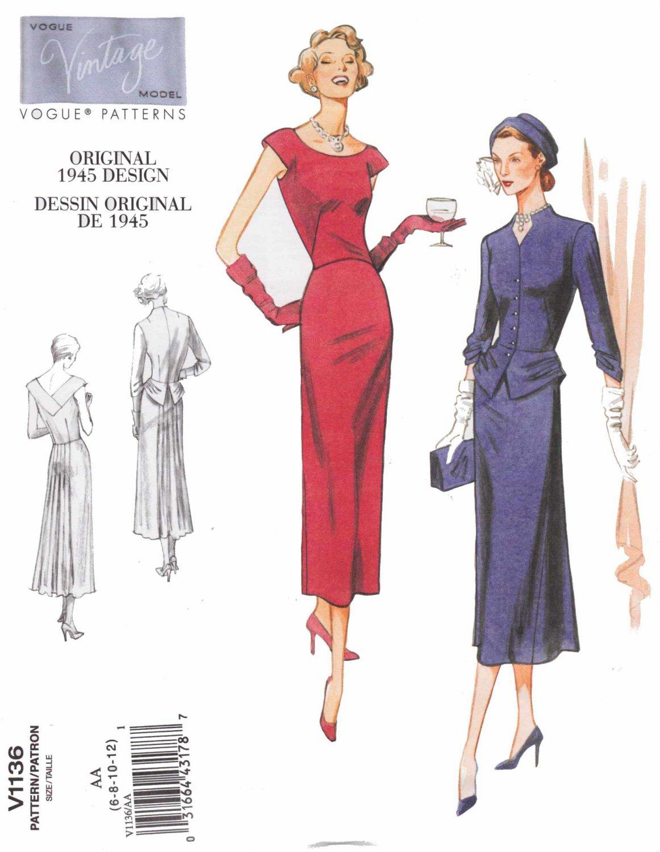 Vogue Sewing Pattern 1136 Misses Size 6-12 Vintage Original 1945 Design Dress Jacket