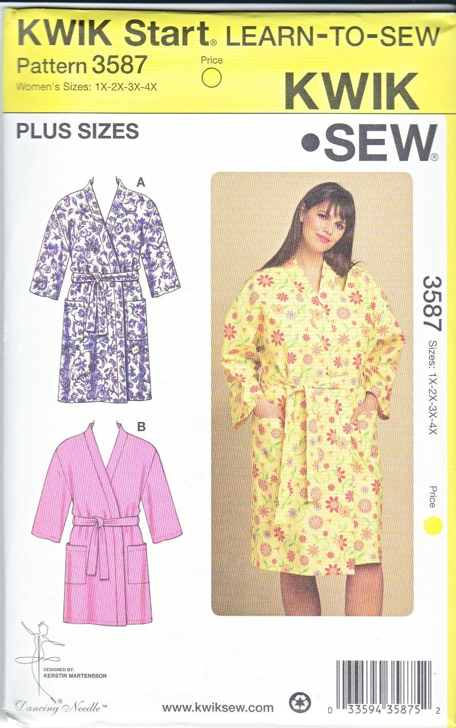 Kwik Sew Sewing Pattern 3587 Women's Plus Size 1X-4X (approx 22W-32W) Easy Front Wrap Robe