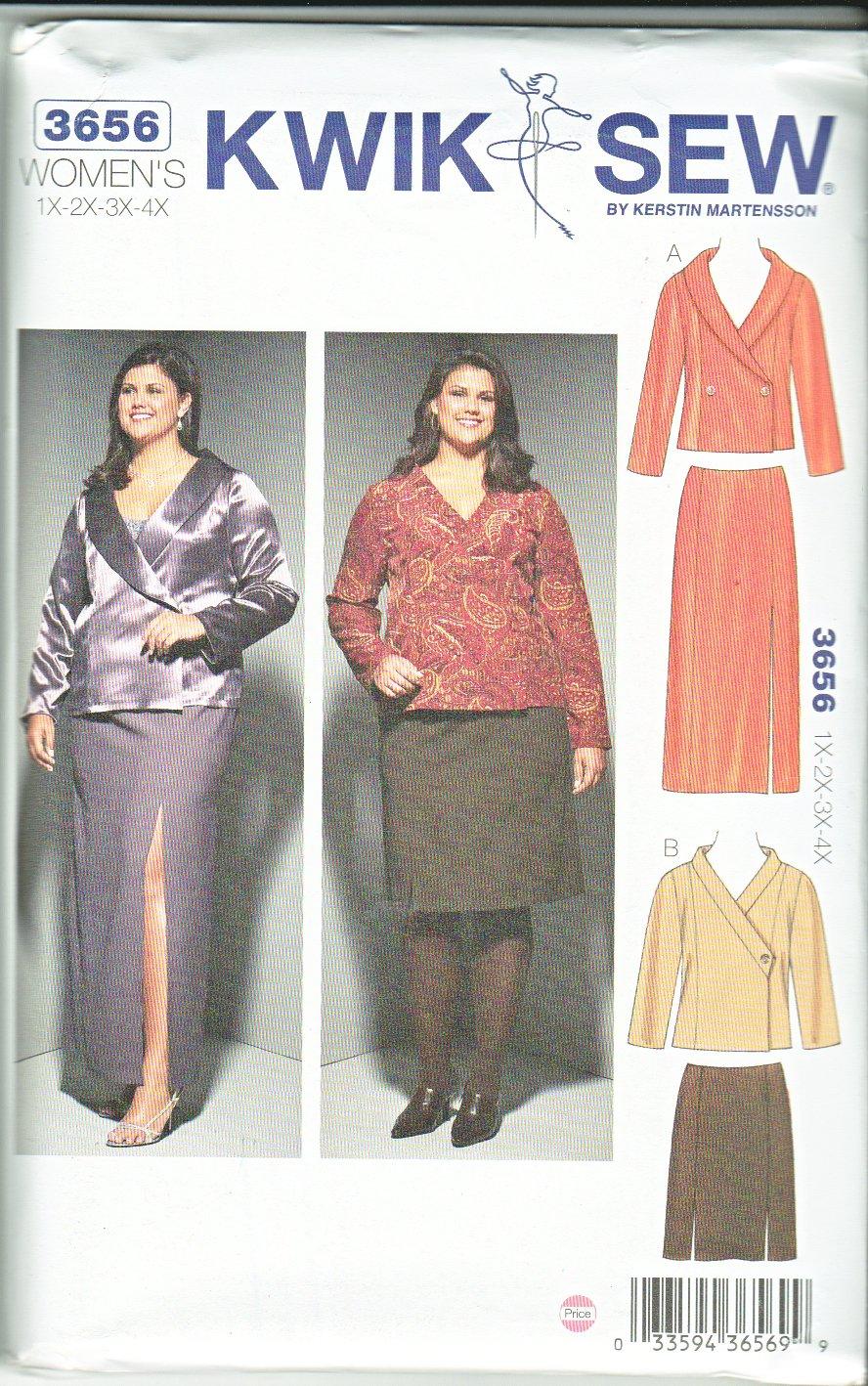 Kwik Sew Sewing Pattern 3656 Women's Plus Sizes 1X-4X Jackets Straight Skirts Length Collar Options