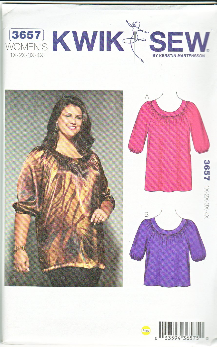 Kwik Sew Sewing Pattern 3657 Women's Plus Size 1X-4X (approx 22W-32W) Pullover Top Tunic