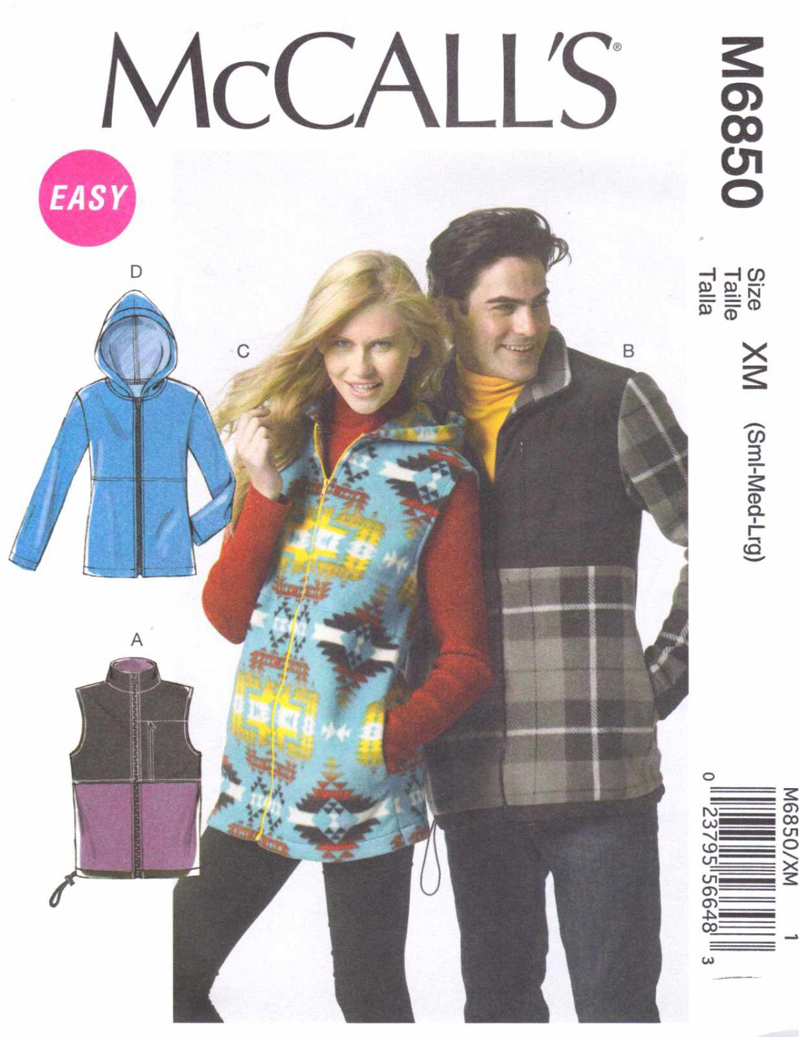 """McCall's Sewing Pattern 6850 Misses Mens Chest Size 46-56"""" Easy Zipper Front Vest Jacket Hood"""