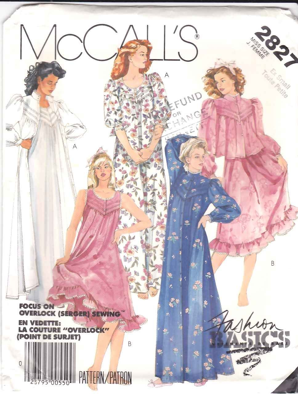 McCall's Sewing Pattern 2827 Misses Size 10-12 Basic Nightgown Robe Bathrobe Bed Jacket
