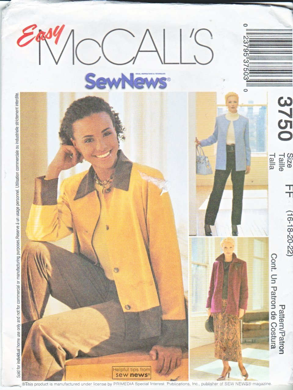 McCall's Sewing Pattern 3750 Misses Size 6-12 Easy Sew News Button Front Jacket Skirt Pants