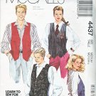 "McCalls Sewing Pattern 4437 M4437 Misses Mens Chest Size 36-38"" Unisex Button Front Lined Vest"