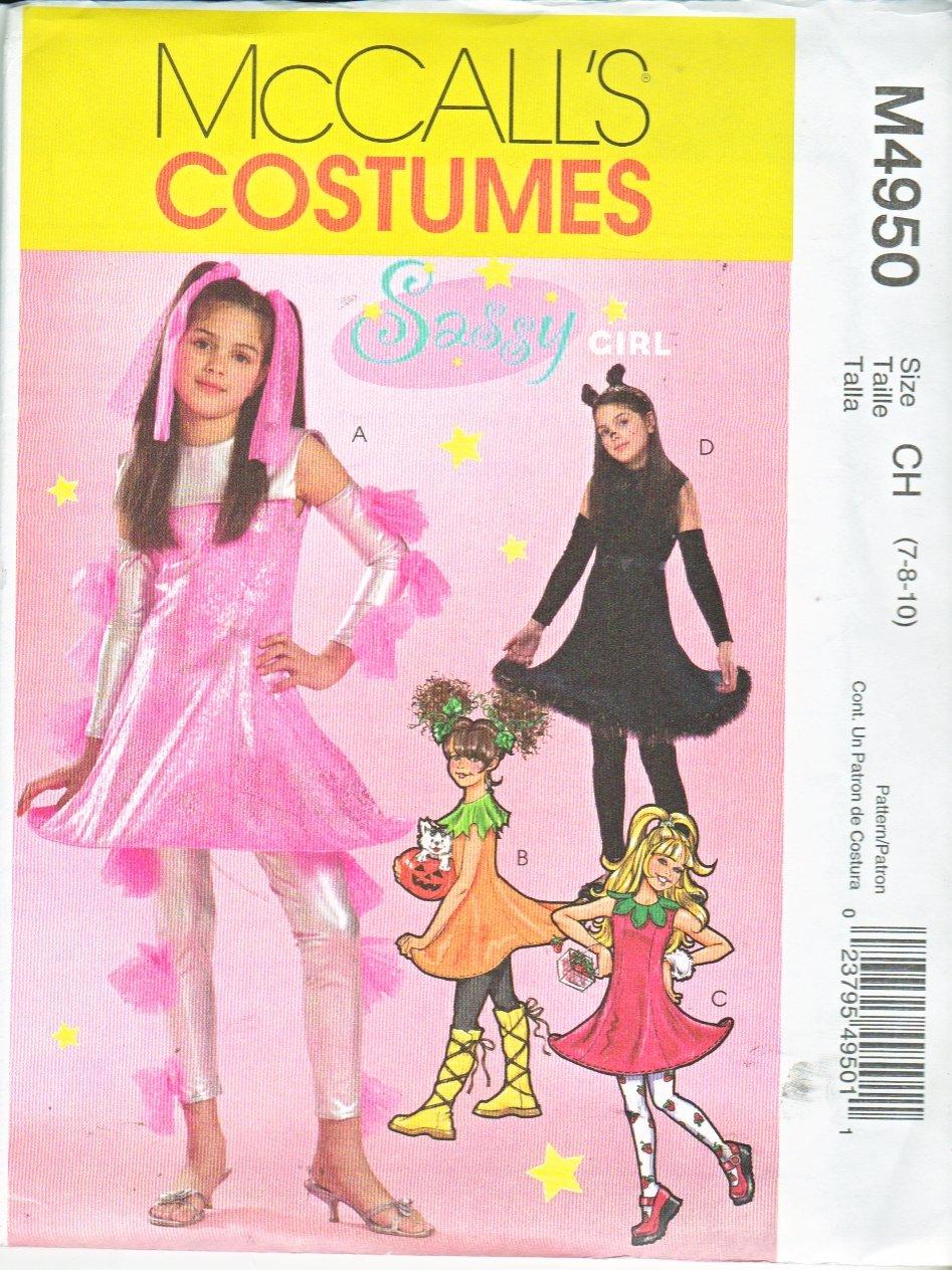 McCall's Sewing Pattern 4950 M4950 Girls Size 7-10 Costumes Cat Pumpkin Strawberry Sci-Fi