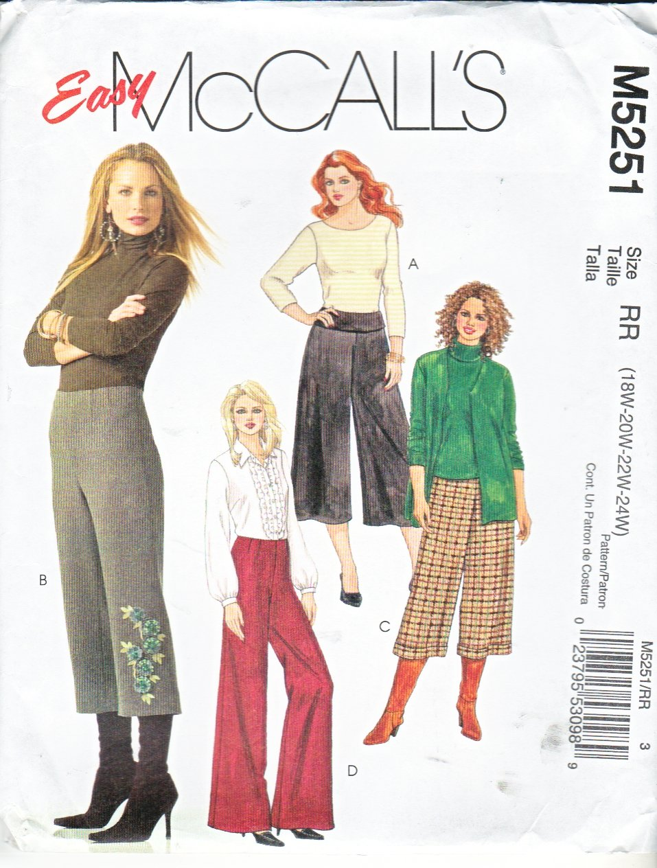 McCall�s Sewing Pattern 5251 Womans Plus Size 18W-24W Easy Gauchos Cropped Bell Bottom Pants