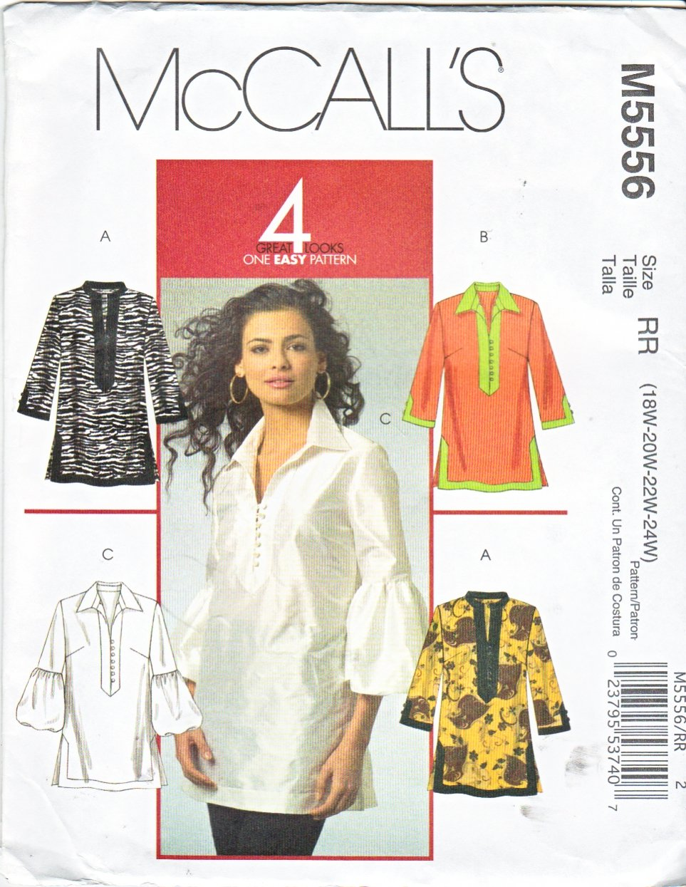 McCall's Sewing Pattern 5556 Womans Plus Size 18W-24W Pullover Tunic Top Sleeve Collar Variations