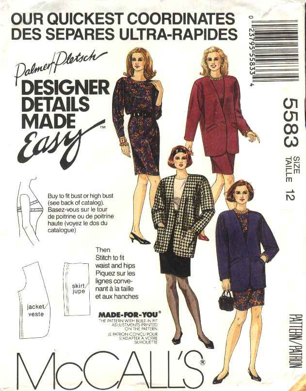 McCall�s Sewing Pattern 5583 Misses Size 8 Palmer Pletsch Easy Top Straight Skirt Jacket Suit