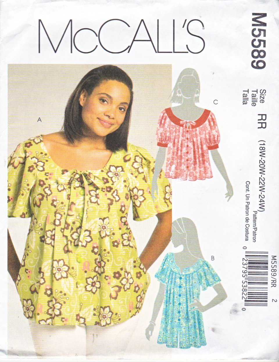 McCall's Sewing Pattern 5589 Womans Plus Size 18W-24W Loose-fitting Tops Tunics