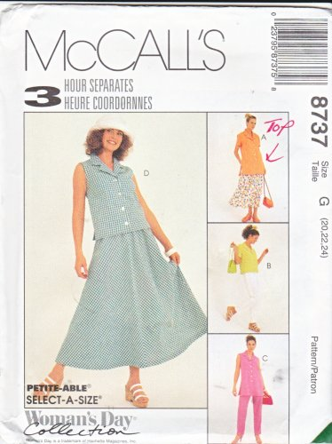 McCalls Sewing Pattern 8737 Misses Size 20-24 3 Hour Separates Pants Skirt Top