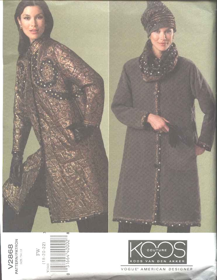 Vogue Sewing Pattern 2868 Misses Size 12-16 Koos Van Den Akker Couture Reversible Quilted Coat Hat