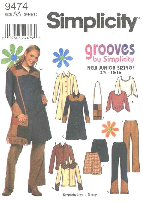 Simplicity Sewing Pattern 9474 Junior Size 3/4-9/10 Wardrobe Coat Skirt Knit Top Pants Shirt Purse