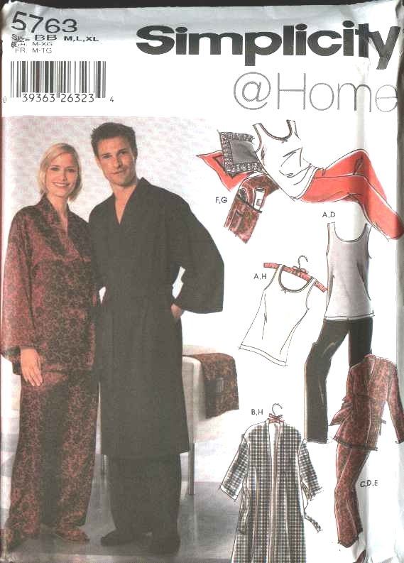 Simplicity Sewing Pattern 5763 Misses Mens Size M-XL Robe Pajamas Pants Knit Tank Top Slippers