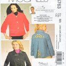McCall's Sewing Pattern 5763 Women's Plus Size 18W-24W Jackets Nancy Zieman Embroidery