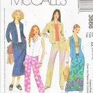 McCall's Sewing Pattern 3666 Misses Size 6-12 Button Front Shirt Pull On Skirt Capri Pants