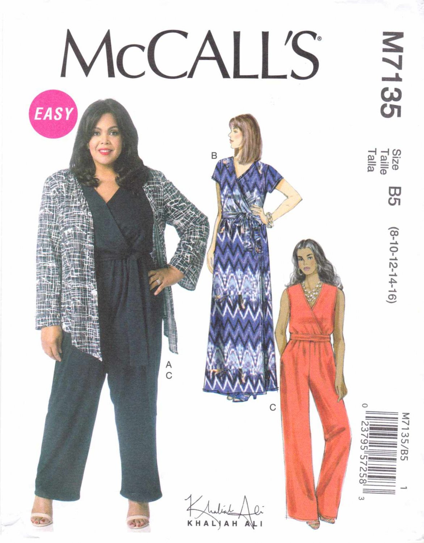 McCall's Sewing Pattern 7135 M7135 Misses Size 8-16 Easy Khaliah Ali Shrug Dress Jumpsuit Belt