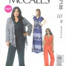 McCall's Sewing Pattern 7135 Misses Size 8-16 Easy Khaliah Ali Shrug Dress Jumpsuit Belt