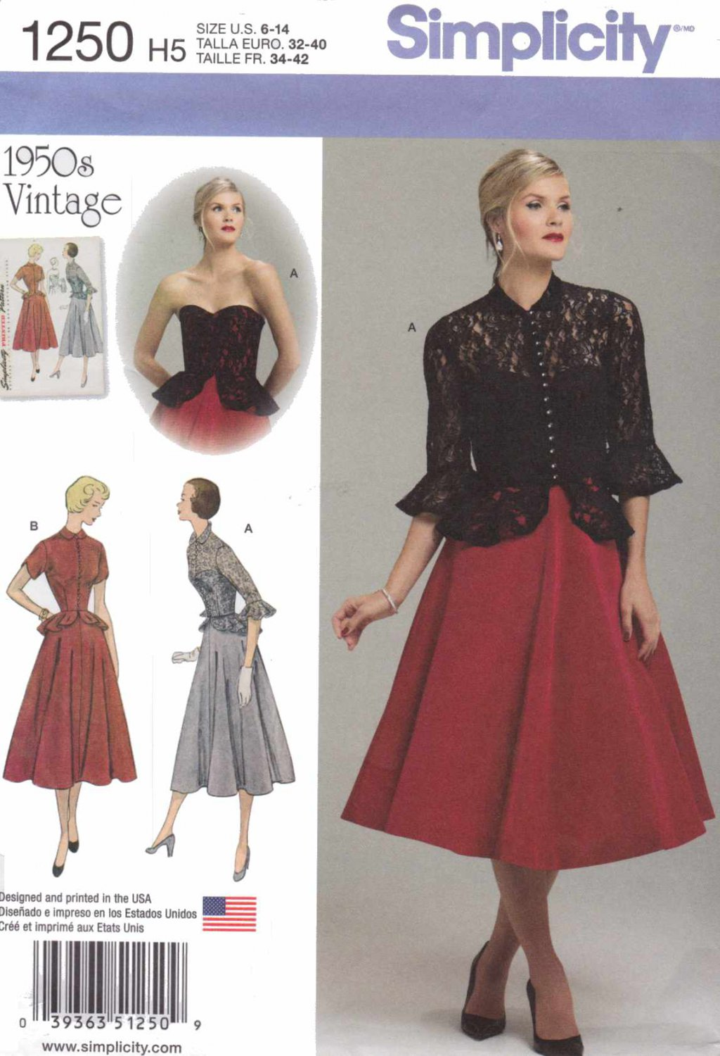 Simplicity Sewing Pattern 1250 Misses Size 6-14 Vintage 1950's Style Strapless Dress Jacket Peplum