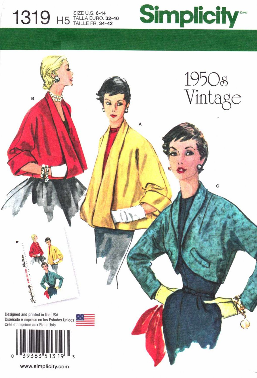 Simplicity Sewing Pattern 1319 Misses Sizes 14-22 Vintage Style Jiffy Swing Jackets Bolero