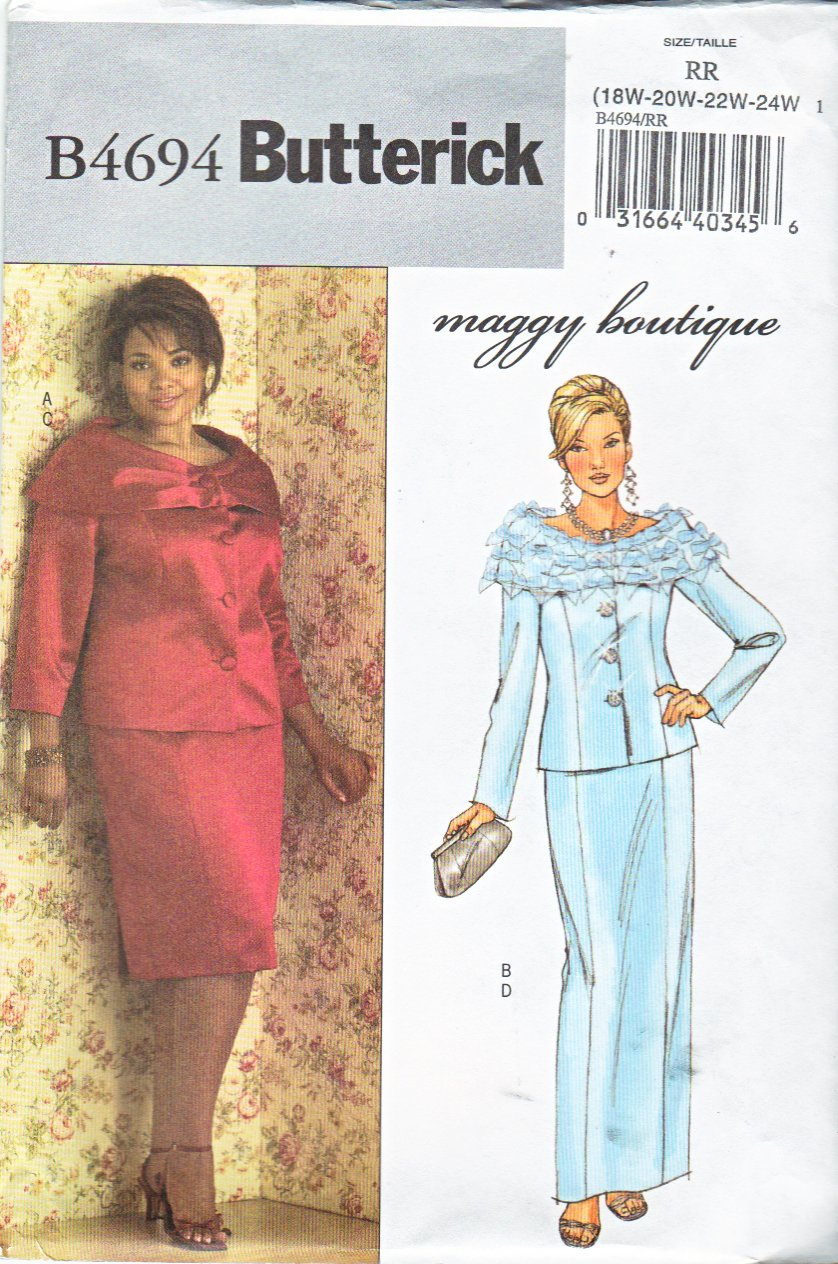 Butterick Sewing Pattern 4694 B4694 Womans Plus Size 18W-24W Formal Jacket Long Short Straight Skirt