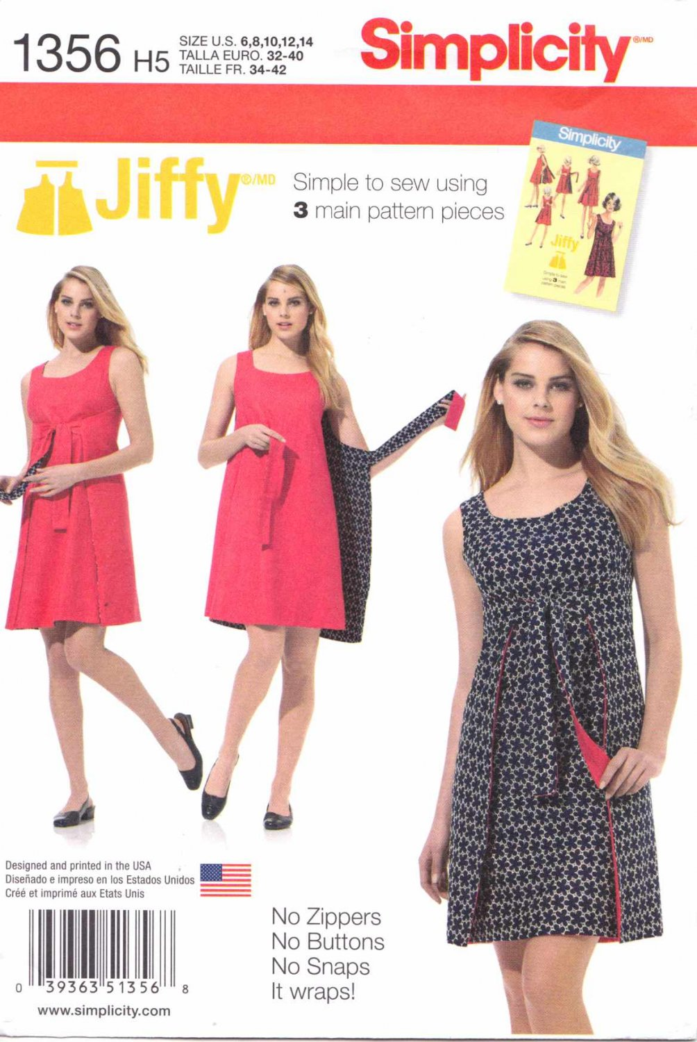 Simplicity Sewing Pattern 1356 Misses Sizes 14-22 Vintage Style Jiffy Reversible Wrap Dress