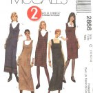 McCall's Sewing Pattern 2866 Misses Size 6-8-10 Two Hour Long Short Straight Jumper