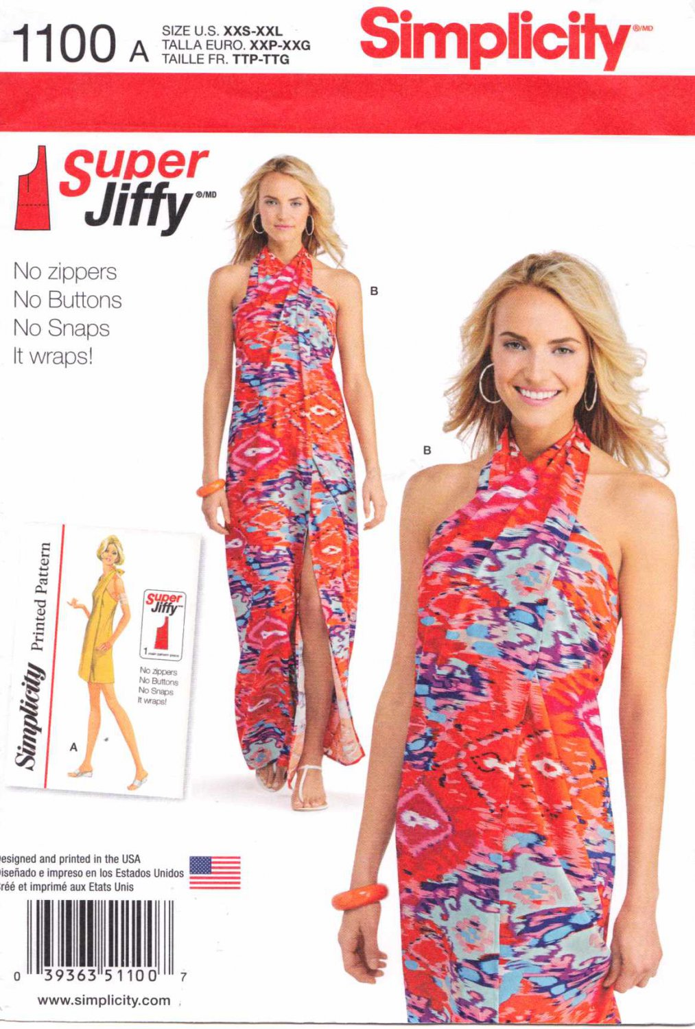 Simplicity Sewing Pattern 1100 Misses Sizes 4-26 Vintage Style Jiffy Beach Cover Up Halter Dress