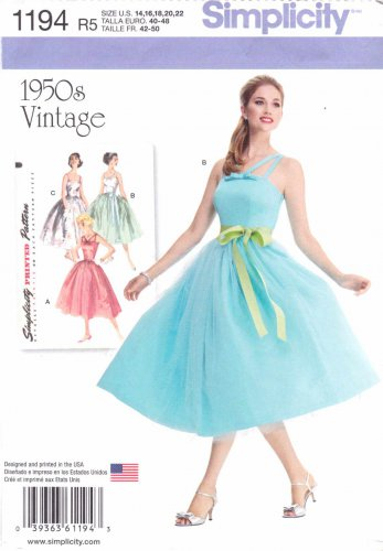 Simplicity Sewing Pattern 1194 Misses Sizes 14-22 Vintage Style Dress Full Gathered Skirt