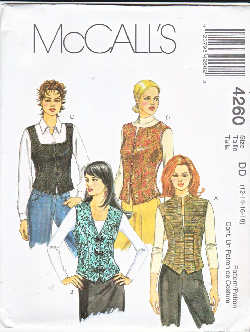 McCall's Sewing Pattern 4260 Misses Size 8-14 Fitted Lined Button Front Vests