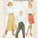 Simplicity Sewing Pattern 8869 Misses Size 10 Lined Straight Flared Leather Skirts Pants