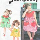 Simplicity Sewing Pattern 7784 Girls Size 5-6X Dress Collar Pocket Variations Watermelon Strawberry