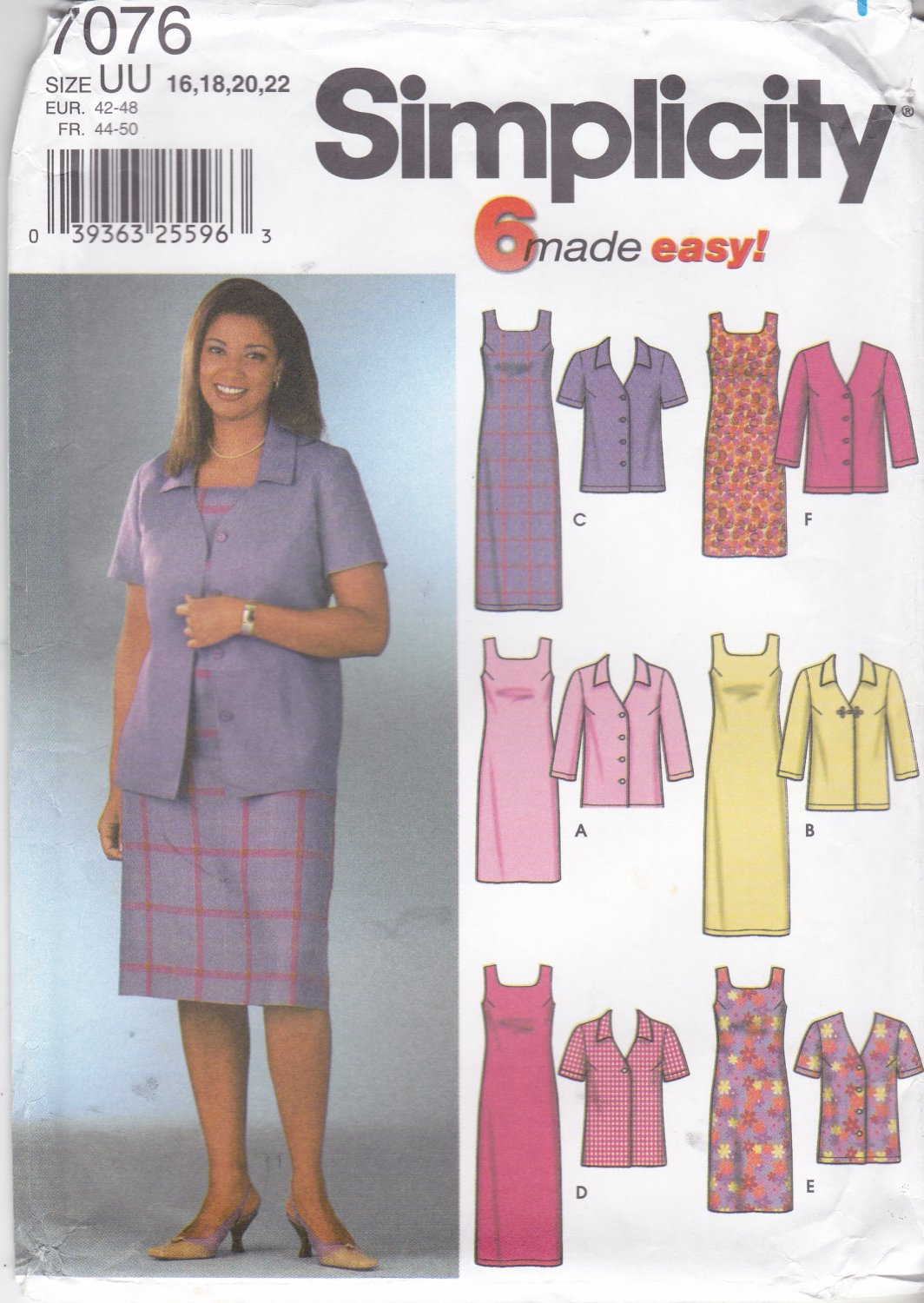 Simplicity Sewing Pattern 7076 Misses Size 16-22 Easy Jacket Straight Sheath Sleeveless Dress
