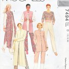 McCall's Sewing Pattern 7494 Misses Size 8-12 Wardrobe Top Tunic Pants Duster Vest Jacket
