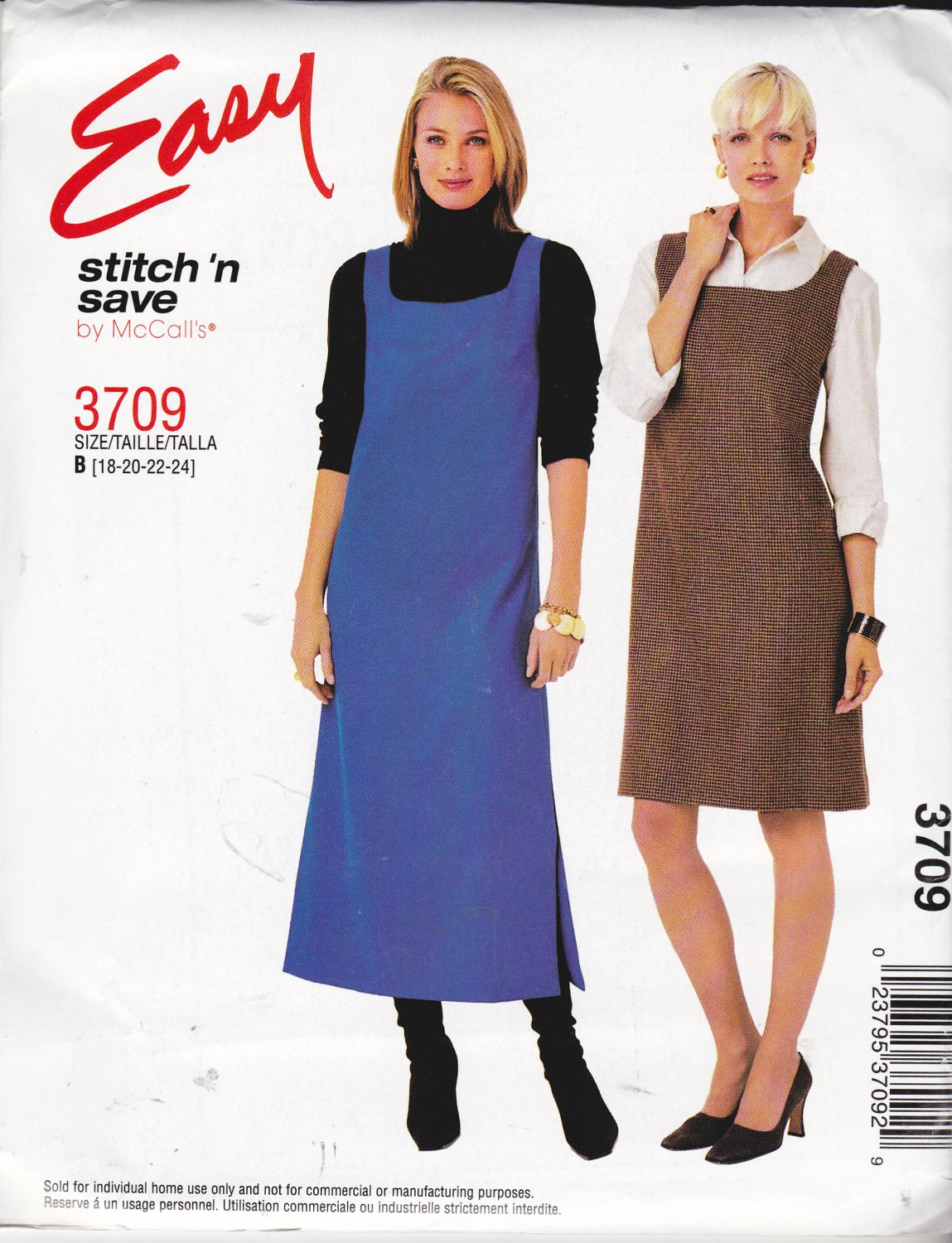 McCall�s Sewing Pattern 3709 Misses Size 18-24 Easy Pullover A-Line Jumper