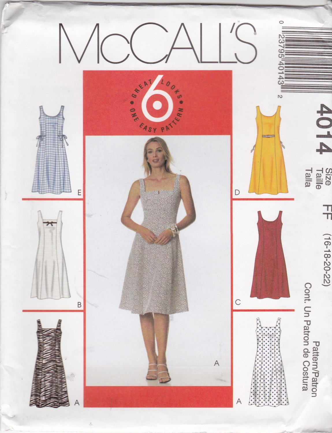 McCall's Sewing Pattern 4014 M4014 Misses Size 16-22 Easy Sleeveless Summer Flared Skirt Dress